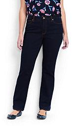 Women's Plus Size Mid Rise Straight Leg Jeans-Dark Indigo Wash