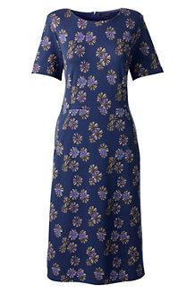 Women's Short Sleeve Print Ponte Jersey Shift Dress