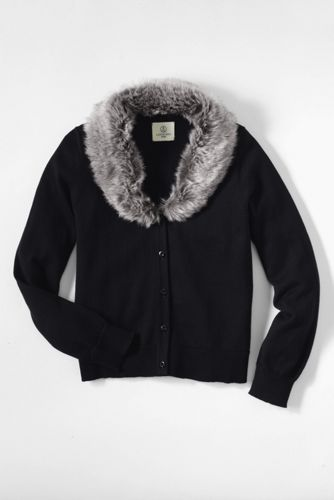 Little Girls' Faux Fur Collar Sophie Cardigan