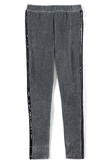 Girls' Velveteen Sparkle Side Stripe Legging