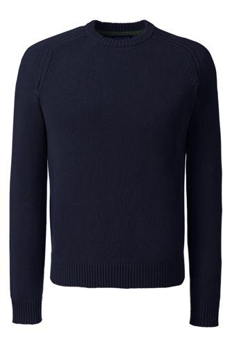 Le Pull Ras de Cou Uni en Laine d'Agneau, Homme Taille Standard