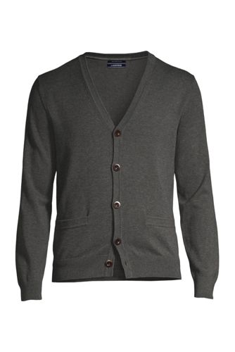 Le Cardigan Supima® Col V Manches Longues, Homme Stature Standard