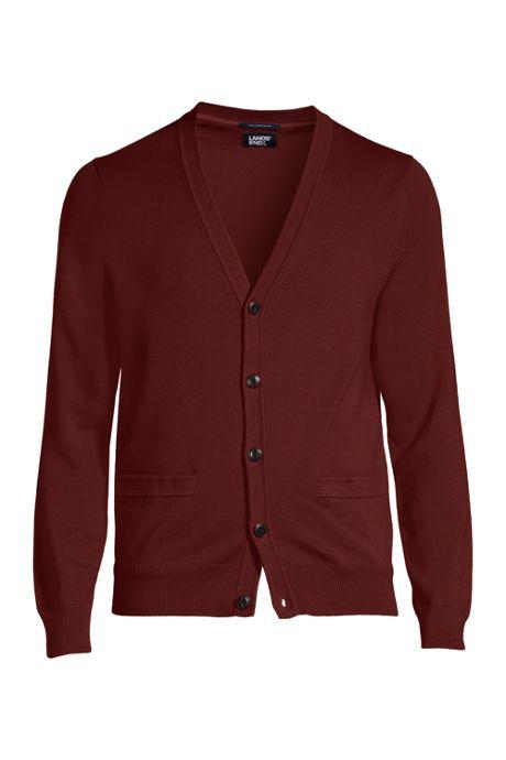 Men's Fine Gauge Cotton V-neck Cardigan Sweater