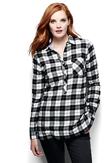 Women's Flannel Chambray Trim Tunic