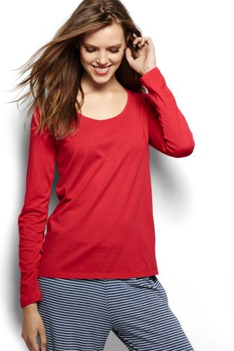 Womens Regular Cotton/Modal Short Sleeve Pyjama Top - 10 -12 - RED Lands End