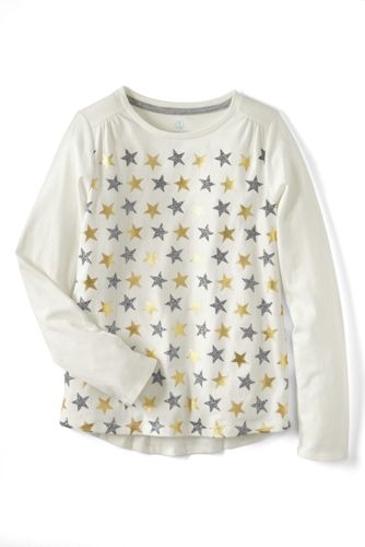 Little Girls' Shimmer Gathered Shoulder Tee