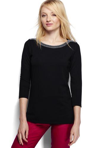 Ponté-Shirt mit Glitzer-Ausschnitt