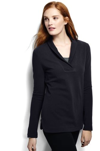 Le Pull Col Châle en French Terry, Femme Taille Standard