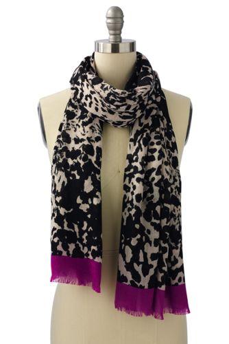 Animal Print-Schal mit Uni-Enden