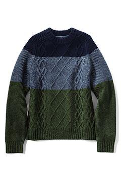 Colorblock Lambswool Aran Crewneck Sweater 464022