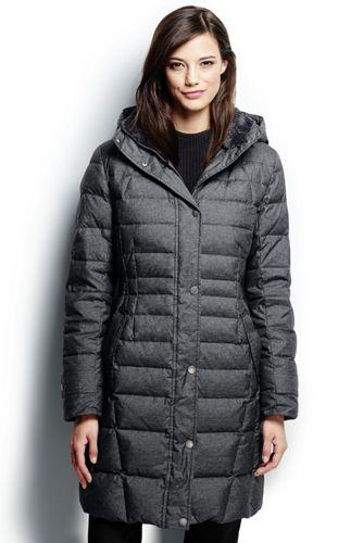 Women's Regular Heathered Fleece-lined Down Coat