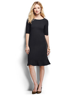Women's Ponte Jersey Fluted Hem Dress