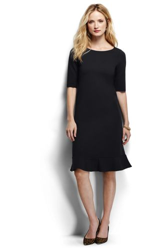 Women's Regular Ponte Jersey Fluted Hem Dress