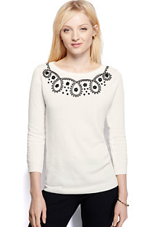Women's Crew Neck Jumper Ivory Soutache Trim