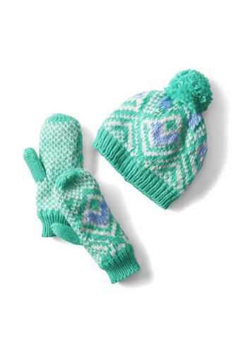 Kids' Fair Isle Hat and Mittens Set