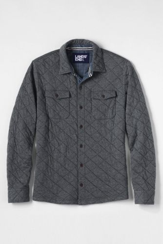 Men's Regular Quilted Jersey Shirt Jacket