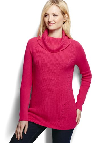 Women's Regular Cotton Shaker Cowl Neck