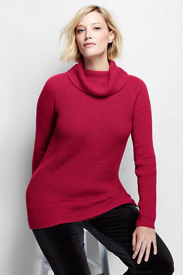 Women's Cotton Shaker Cowl Neck Sweater from Lands' End