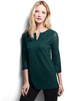 Women's 3-Quarter Sleeve Ponte Lace Yoke Tunic