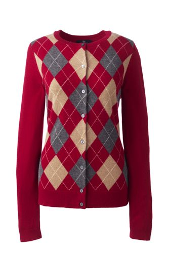 Women's Regular Classic Cashmere Argyle Cardigan