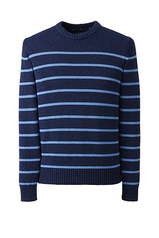 Drifter Cotton Stripe Crew Sweater 467899: Midnight Sky Heather
