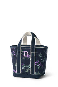 Small Print Open Top Canvas Tote Bag