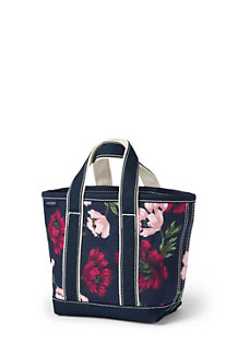 Small Open Top Print Canvas Tote