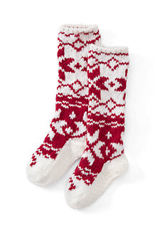 Women's Hand Knit Fair Isle Slipper Socks