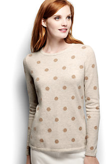 Women's Classic Cashmere Long Sleeve Dots Pattern Jumper