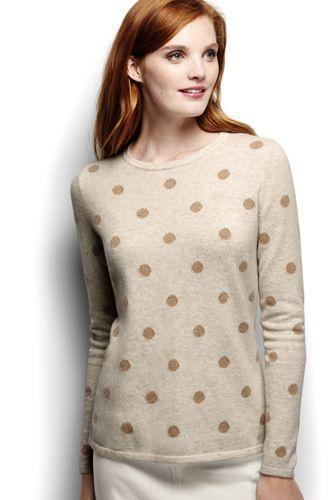 Le T-shirt en Cachemire Intarsia à Manches Longues Femme, Taille Standard
