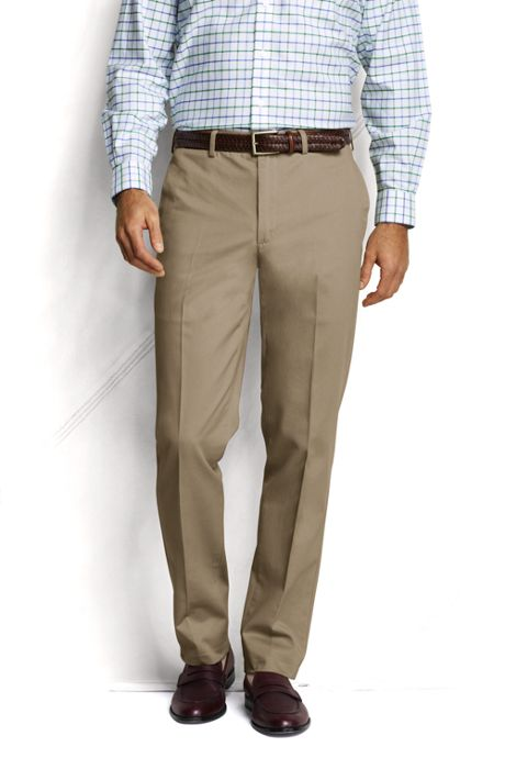 Men's Pre-hemmed Plain Front Tailored Fit No Iron Chino Pants