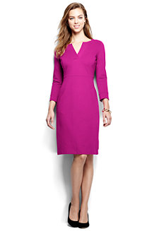 Women's Notched Neck Ponte Shift Dress
