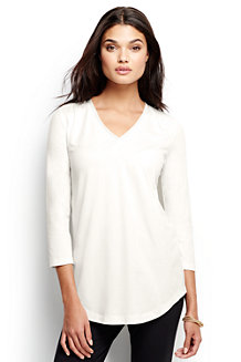 Women's 3-Quarter Sleeve V-Neck Trim Tunic