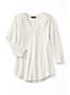 La Tunique Col en V Manches 3/4 Bordures Chics Femme, Taille Standard