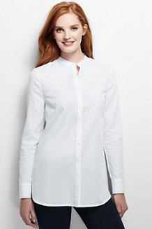 Women's Collarless Embroidered Tunic