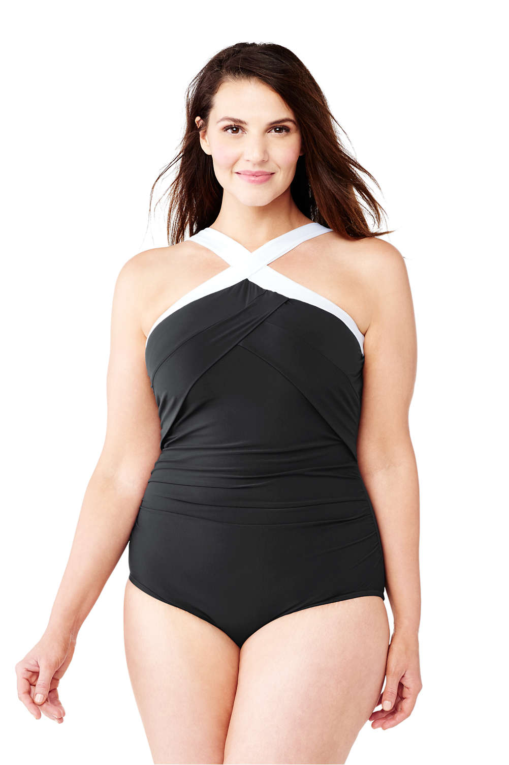 3c35386a712 Women's Shaping High-neck One Piece Swimsuit from Lands' End
