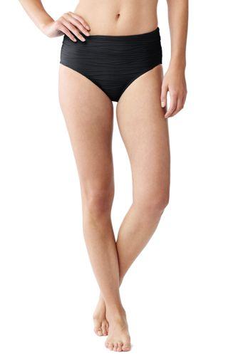 Le Slip de Bain Texturé Taille Haute, Femme Stature Standard