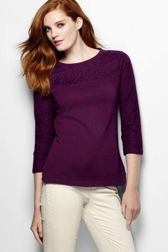 Women's Regular Three Quarter Sleeve Lace Top