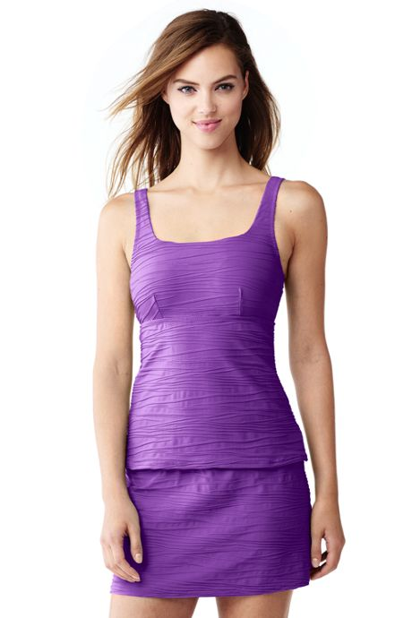 Women's D-Cup Texture Square Neck Tankini Top