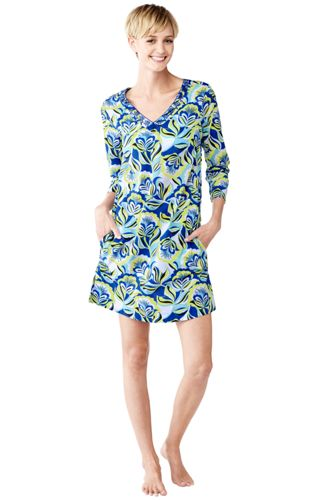 Women's Regular Floral Cotton Lawn Tunic Cover-up