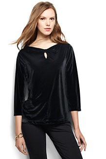 Women's Velvet Keyhole Top