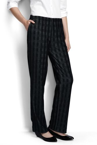 Women's Regular Glen Plaid Jacquard Sport Knit Trousers