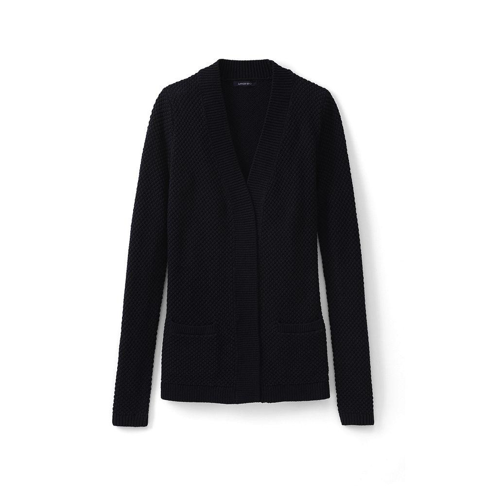 Lands' End Women's Lofty Textured Open Cardigan Sweater