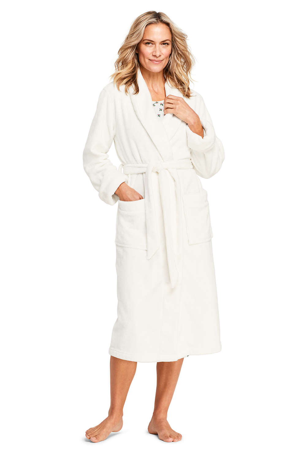 Women s Plush Fleece Long Robe from Lands  End f59a48730