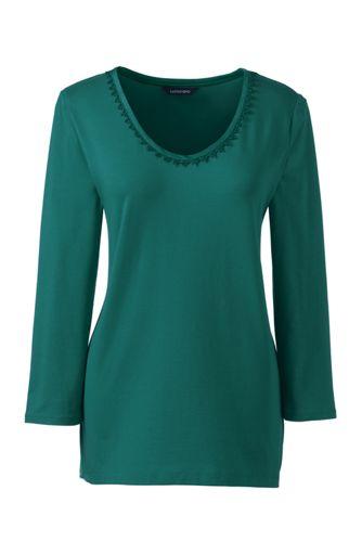 Women's Regular 3-Quarter Sleeve Lace Trim Top