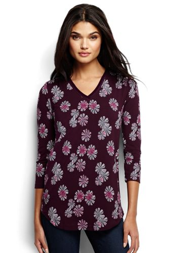 Women's Regular 3-Quarter Sleeve V-Neck Trim Print Tunic
