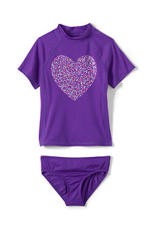 Girls' Heart Rash Guard top and bottoms