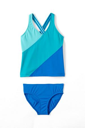 80561354b4 Girls' Smart Swim Colourblock Tankini | Lands' End