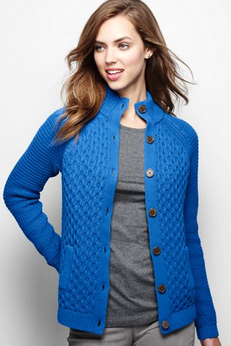 Women's Plain Cable Polo Neck Cardigan Jacket