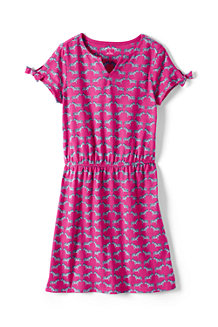 Girls' Capped Sleeve Patterned dress